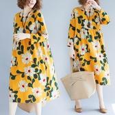洋裝 連身裙大花朵中長裙春秋中大尺碼寬鬆麻棉印花高腰拼接大圓領長袖連衣裙
