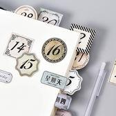 【BlueCat】陌默復古日付數字星期盒裝貼紙 (45入)