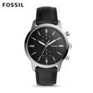 FOSSIL Townsman 都會百搭 雙眼計時功能黑色皮革手錶 男 FS5396