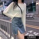 新款夏季ins不規則高腰黑色牛仔短裙女韓版顯瘦學生藍色毛邊裙子 小宅妮
