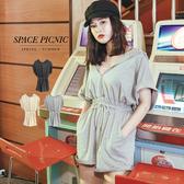 連身褲 Space Picnic|連帽拉鍊棉質連身短褲(現貨)【C19042075】