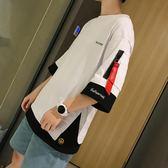 夏季ins五分袖t恤男短袖韓版潮寬鬆嘻哈半截袖潮牌5分上衣ulzzang   麥吉良品