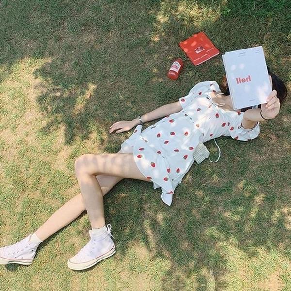 白色洋裝 2020夏季新款法式復古超仙女森系桔梗初戀赫本風方領洋裝子 果果生活館