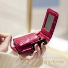 口紅包化妝包帶鏡子小號便攜隨身口紅盒收納...