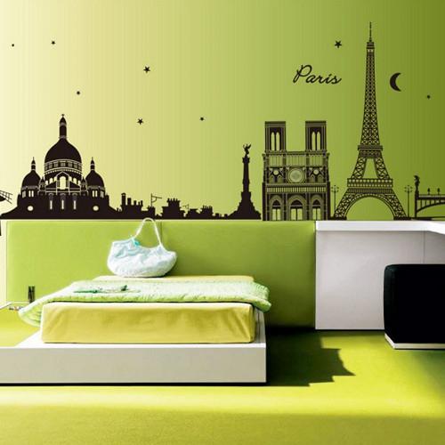巴黎的夜晚 壁貼 可重複使用 不殘膠 壁紙 窗貼 窗紙 辦公室貼 貼紙 沂軒精品 E0041