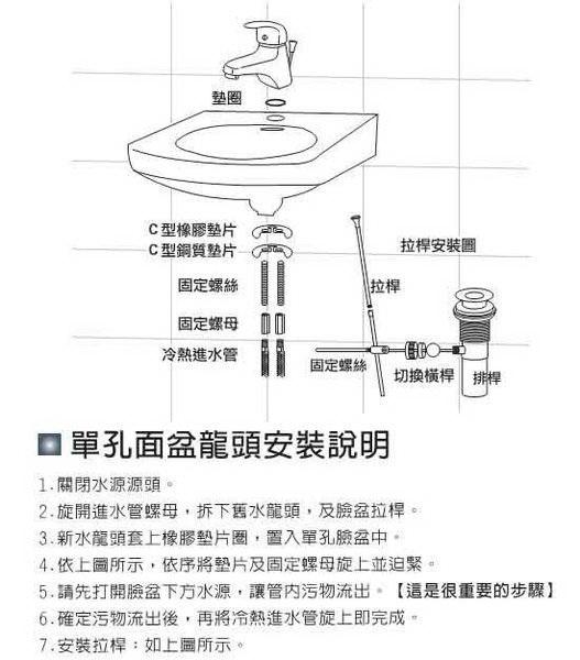單孔面盆龍頭 (單孔) 面盆水龍頭 洗臉盆水龍頭 冷熱混合龍頭 單槍龍頭 主體附軟管*2