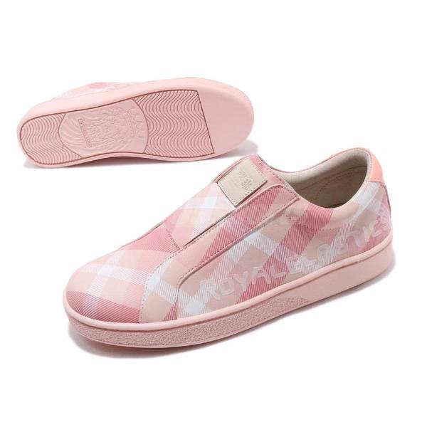 Royal Elastics 休閒鞋 Bishop Checked 粉紅 白 格紋 無鞋帶設計 橡膠大底 女鞋【PUMP306】 91791111