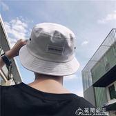 韓版夏季新款男士百搭時尚漁夫盆帽子簡約刺繡貼標遮陽防曬帽潮流花間公主