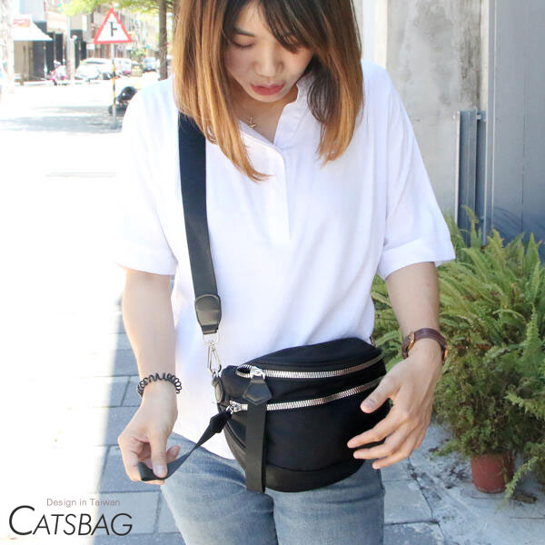 Catsbag|防潑水雙層尼龍大開口斜背包 0018-2