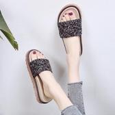 沙灘鞋 2019新款涼拖女夏外穿時尚百搭高跟厚底網紅一字拖沙灘鞋懶人拖鞋