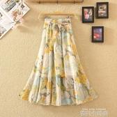 雪紡印花半身裙女夏季新款波西米亞顯瘦中長裙沙灘裙海邊度假裙子 依凡卡時尚
