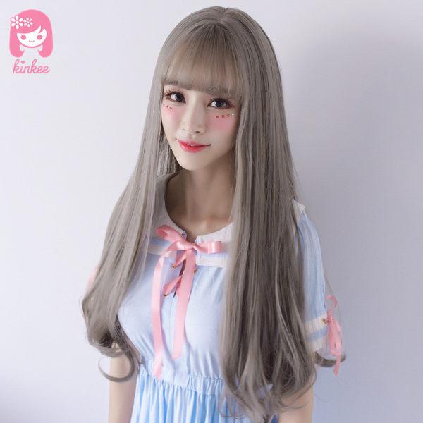 *╮Kinkee假髮╭*最想要的灰色髮! 大頭皮 空氣瀏海 修飾 大波浪 長捲髮  假髮【C8150】