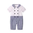 海軍風短袖連身衣 圓領 雙排釦 假兩件 爬服 哈衣 男寶寶 女寶寶 Augelute Baby 60354