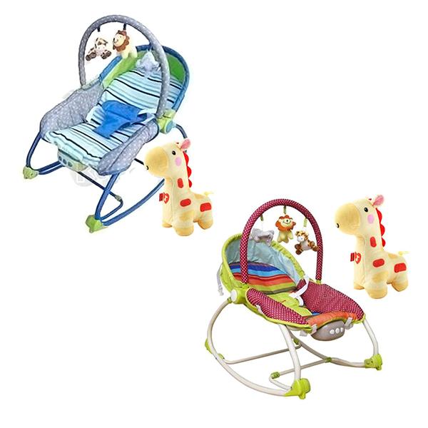 【奇買親子購物網】Mother''s Love 嬰兒震動搖椅(藍/綠)BR212+費雪牌 Fisher 聲光安撫長頸鹿