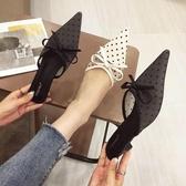 2019新款波點蕾絲穆勒鞋網紗尖頭包頭中跟外穿涼拖鞋女鞋782-21