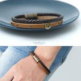 雙色編織磁鐵真皮手環【NA483】韓國帶回