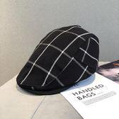 秋冬季帽子潮復古格子鴨舌帽男英倫貝雷帽女韓版休閒遮陽帽前進帽