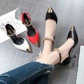 涼鞋女包頭細跟時尚女鞋皮面淺口一字扣百搭高跟鞋