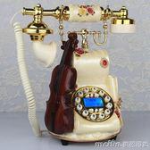 金順迪 歐式電話機復古仿古創意田園家用座機新款無線插卡電話機QM 美芭
