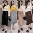 針織半身裙女韓國高腰百褶裙中長款單排扣開叉包臀裙H331快時尚