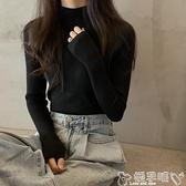 針織打底衫 黑色針織打底衫女秋冬2021年新款時尚洋氣修身中領半高領毛衣內搭 嬡孕哺