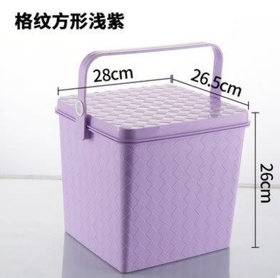 加厚塑膠洗車玩具收納桶帶蓋可坐人儲物桶洗澡凳多功能釣魚桶水桶【釣魚桶方形紫色】