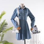 牛仔連身裙女素色秋季長袖單排扣收腰a字裙 貝兒鞋櫃