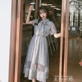 復古格子洋裝夏天氣質polo領拼接網紗長裙2020新款裙子女夏 米娜小鋪