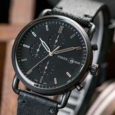 FOSSIL Commuter 暗黑騎士三眼計時真皮腕錶 FS5504 熱賣中!