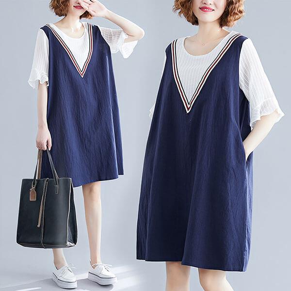 假兩件顯瘦V領洋裝-中大尺碼 獨具衣格 J2688