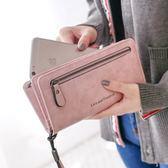 長夾女手拿包-純色錢包大容量多功能女皮夾6色73pp172[時尚巴黎]
