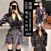 克妹Ke-Mei【AT57933】正韓空運代購chic復古深V經典格紋泡泡袖連身洋裝