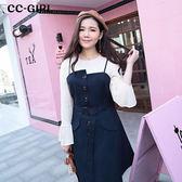 中大尺碼 顯瘦吊帶背心連身洋裝(附腰帶) - 適XL~4L《 66031i 》CC-GIRL