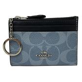 【COACH】C LOGO悠遊卡片鑰匙零錢包(牛仔藍)