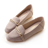 amai《心機美圖鞋》粉霧感金鏈內增高樂福鞋 紫