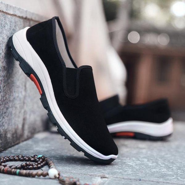 新品布鞋男鞋輕便防滑耐磨軟底工作鞋黑色布鞋登山鞋休閒鞋(全館八五折)