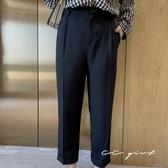 中大尺碼  折線設計口袋西裝褲- 適XL~4L《 69093 》CC-GIRL