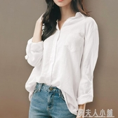 棉麻白色襯衫女春秋新款寬鬆韓版長袖加絨襯衣上衣設計感小眾 錢夫人