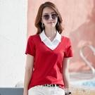 假兩件T恤女短袖純棉襯衫領上衣女士夏季有領體恤帶領打底衫女潮 初語生活