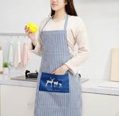 圍裙韓版時尚圍裙女廚房圍裙做飯罩衣棉麻圍腰防水防油圍裙 晴天時尚館