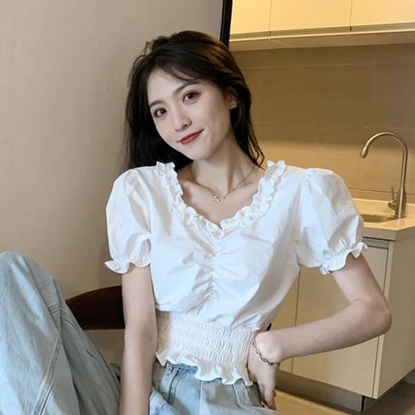 泡泡袖短款上衣女設計感外穿2020新款夏季復古港味收腰短袖襯衫潮 【ifashion·全店免運】
