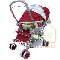 [ 家事達 ] Mother's Love  雙向全罩加大手推車 -紅色   特價