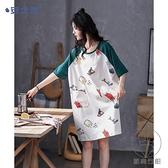 睡裙女夏季純棉短袖可愛睡衣休閒薄款可出門家居服【貼身日記】