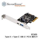 銀欣 ECU03 Type A + Type C USB3.1 PCI-E 擴充卡