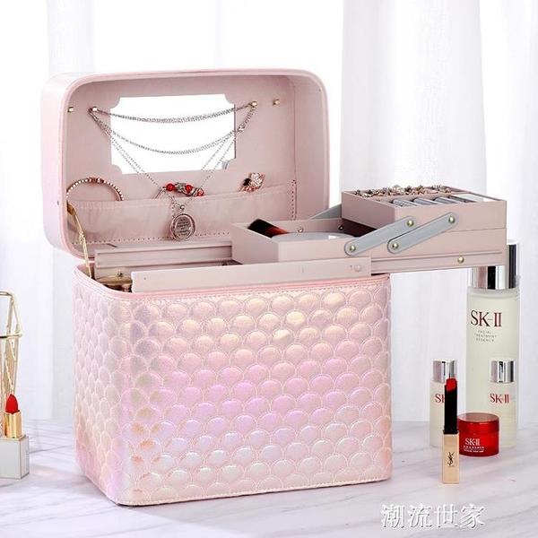韓國新款網紅手提化妝包ins風 超火變色化妝箱大容量化妝品收納盒『潮流世家』
