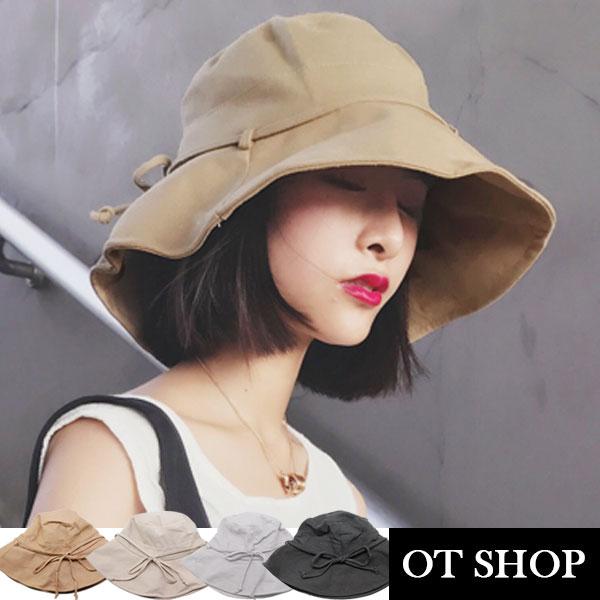 OT SHOP帽子‧素色棉質帽檐可調鋼絲蝴蝶結‧漁夫帽遮陽帽盆帽‧防曬遮陽出遊海灘‧現貨4色‧C1974