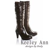 ★2016秋冬★Keeley Ann完美顯瘦~輕柔羽絨拼接真皮高跟長靴(咖啡色)