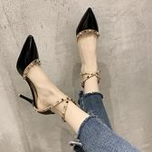 高跟鞋夏季包頭細跟鉚釘時裝涼鞋性感尖頭女鞋一字帶百搭 夜店舞臺表演高跟鞋