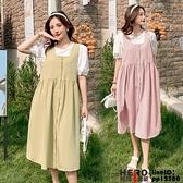 洋裝連身裙孕婦裝夏裝寬松顯瘦泡泡袖短袖T恤單排扣背帶裙外出連身裙兩件式