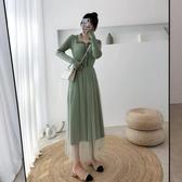 特賣針織洋裝打底毛衣裙子2020秋冬新款韓版氣質中長款過膝修身網紗針織連身裙